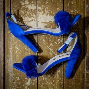 Blue furry ankle strap chunky heel
